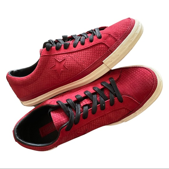Converse red snake skin print shoes